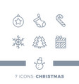 modern christmas holiday thin line flat design vector image