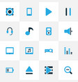 multimedia icons colored set with loudspeaker vector image vector image