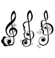 music notes floral ornament vector image