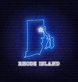 neon map state rhode island on a brick wall vector image vector image
