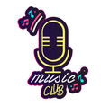 neon music club retro microphone background vector image vector image
