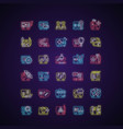 online game types neon light icons set vector image