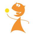 orange alien with yellow tablet vector image