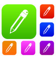 pencil with eraser set color collection vector image vector image