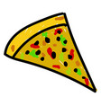 pizza cut on white background vector image