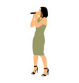 popular woman singer music star with microphone vector image