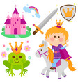 prince riding a horse fairy tale set vector image