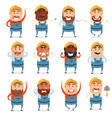 set of builder flat cions vector image