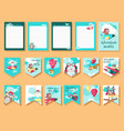 set of cards with pilot animals and travel vector image vector image