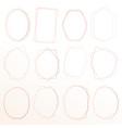 set of geometric pink gold frame decorative vector image vector image