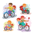 Set of icons small children on bicycles