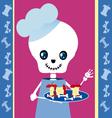 skull boy chef vector image