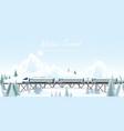 speed train on railway bridge on winter landscape vector image vector image