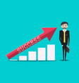 success in business with red arrow o graph and vector image vector image