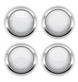 white buttons with chrome frame round glass shiny vector image vector image