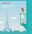 woman stands on balcony in paris vector image vector image