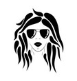 young woman face silhouette hand drawn vector image