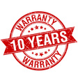 10 years warranty grunge retro red isolated ribbon vector image vector image