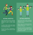 active lifestyle poster mother daughter father son vector image vector image