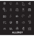 allergy editable line icons set on black vector image vector image