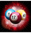 bingo ball explosion on red vector image vector image
