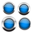 blue buttons with chrome frame round glass shiny vector image vector image
