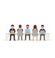 business people working together at the desk vector image vector image