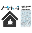 Cafe House Icon with 1000 Medical Business Symbols vector image vector image
