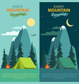 camping adventure bonfire fire and tent vector image vector image