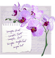 card with flower orchid vector image vector image