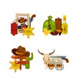 cartoon wild west elements piles set vector image