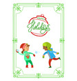 christmas holidays of children playing snowballs vector image