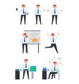 collection of icons depicting businessman on white vector image vector image