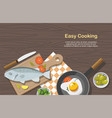 cooking consept food on table top view vector image