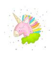 Cute cartoon colored unicorn