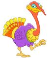 cute cartoon turkey on a thanksgiving day vector image