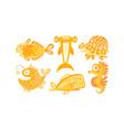 cute friendly sea creatures set underwater vector image vector image