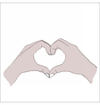 Digital female hands in heart form vector image vector image