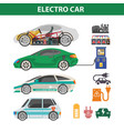 electric cars colorful poster with ways of vector image