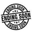 ending soon round grunge black stamp vector image vector image