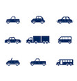 flat cars set taxi and minivan cabriolet vector image vector image