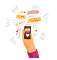 flat human hand giving love vector image vector image