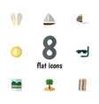 flat icon beach set of surfing reminders vector image vector image