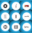 flat icon component set of wheel silencer input vector image vector image