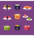 Fun sushi and sashimi Japanese Food with cute vector image vector image