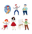 funny french characters people food and culture vector image vector image