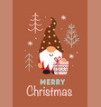 greeting card with christmas gnome and gift vector image vector image