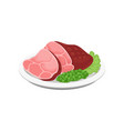 grilled meat with green peas and lettuce leaves on vector image