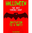 halloween party invitation scary poster vector image