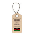 hang tag made in kenya with flag icon isolated on vector image